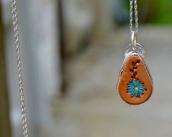 Leather Hand Stamped Sterling Necklace . Blue Daisy . Handmade . Rustic . Hand Forged. by Ninandbumm on Etsy. Jewelry Supplies . Relics