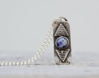 Blue Lapis Sterling Silver Necklace . Hand Stamped . Sterling Necklace .Rustic. Necklace.