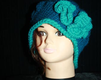 Peacock blue beret with turquoise flowers large size
