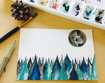 6x4 Original Pine Tree Forest Full Moon Watercolor Ink Painting
