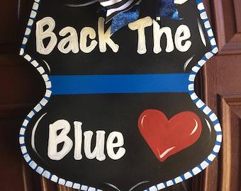 Back the blue police door hanger
