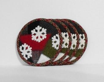 Handmade Felted Wool Crazy Patch & Snowflake Applique Mug Mats