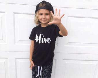Hashtag Birthday Number Solid Color Boys Custom Bodysuit Tee T Shirt - Choose Color & # One Two Three Four Five Six Seven Eight