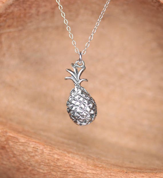 Silver pineapple necklace - tropical necklace - sterling silver pineapple necklace - fruit jewelry