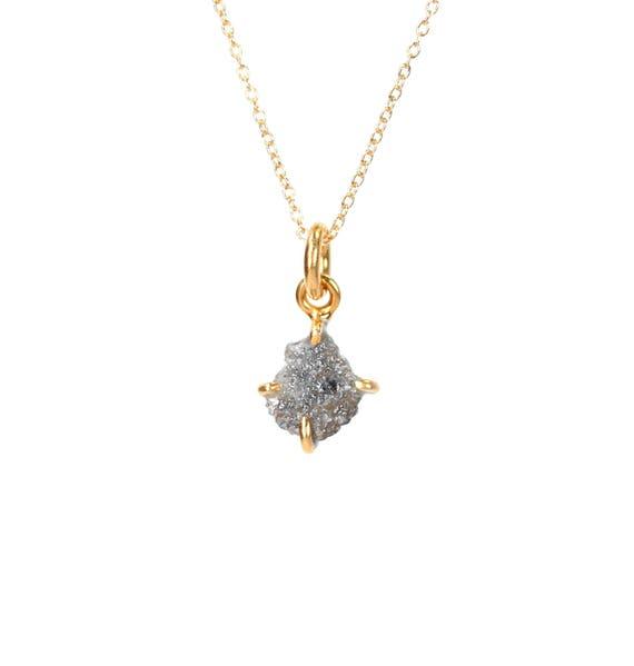 Raw diamond necklace - prong set rough diamond necklace - real diamond necklace