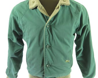 Vintage 80s Lacoste Reversible Jacket Mens S Green Alligator [H96O_1-13]