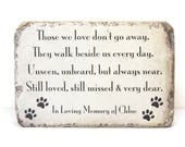Pet Memorial Stone. PERSONALIZED Pet Memorial Gift. 6x9 Tumbled Concrete Paver. Remembrance Stone for Cat or Dog. Indoor or Outdoor