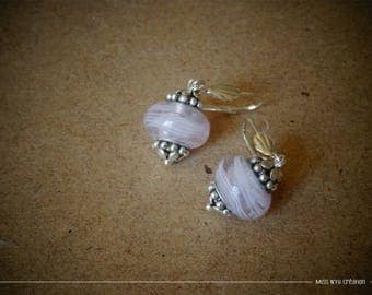 Earrings with pink iridescent Lampwork Glass Beads Pearl & white