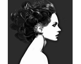 Black and white, fantasy portrait, photomontage, digital print, photography, modern art, digital art, abstract, home decor, fine art print