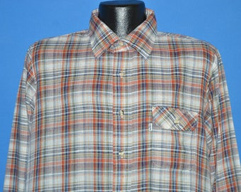 80s Levi's Brown Blue Red Plaid Shirt Extra Large