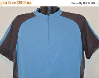 ON SALE 90s REI Blue Gray Cycling Jersey t-shirt Extra Large