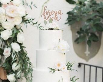 "Foreva Eva Wedding Cake Topper, 6.5""W inches, Forever Topper, Rustic Cake Topper, Unique Wood Cake Toppers, Infinity Cake Topper"
