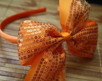 Orange Sequin headband
