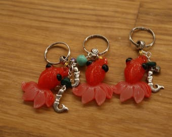 Red fish/mermaid keyrings key charms with gems and charms