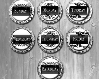 Black & White Weekday Calendar Bottle Cap Magnets, Damask Fridge Magnets - Set of 7