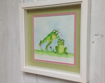 Leap Frog Love Water color original painting
