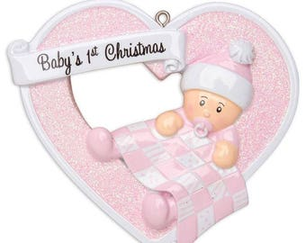 Baby Girl Heart First Christmas Personalized Christmas Ornament / Baby's 1st Christmas / Baby's First Christmas Ornament / New Baby Ornament