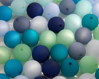 24 Original POLARISPERLEN 14mm large mix marine colors Aqua Blue green Polaris Color