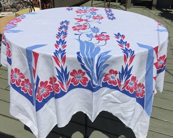 """Large Vintage Tablecloth Red white blue Deco linen  cotton light weight soft 60"""" x 77"""""""