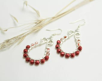 Red and Silver Petite Teardrop Earrings