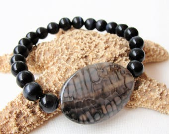 Mens Bracelet,Dragon Veins,Black Cats Eye Bracelet,Beaded Bracelet,Dressy Bracelet for Men,Stretch Bracelet,Gemstone Bracelet,Gift for Him