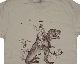 Jesus Riding Dinosaur T Shirt UFO T Shirt Offensive T Shirt Evolution Shirt Charles Darwin Shirt Science T Shirt Jesus Riding on a Dinosaur