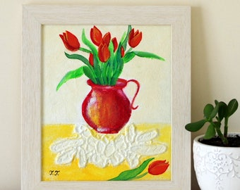 Tulip Painting,  Rustic Style Artwork, Framed Shabby Chic Painting, Doily Art, Mixed Media Painting, Red Flowers Artwork, Red Vase Art