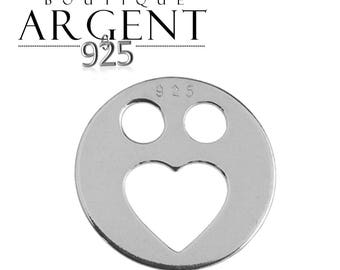 Smile heart shape charm 11.9 mm 925 sterling silver