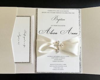Ivory and Silver Glitter Embellished Pocket Fold Baptism Invitation, Sweet 16, Quinceanera, Baptism, Wedding Invitation