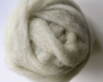 Natural white Clun Forest  wool roving, undyed wool for spinning, 4oz.