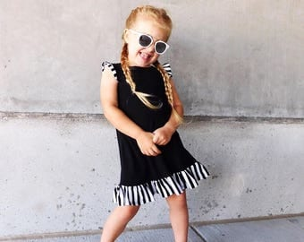 Baby girl clothes, baby girl dress, girls black dress, black dress, toddler dress, hipster dress, baby black dress, black stripe dress