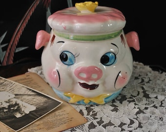 1950s Ceramic Anthropomorphic Pig Jar