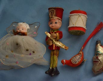 Vintage Christmas Decorations, Assorted Ornaments, Angel, Drum, Bugler, Moon, Bird
