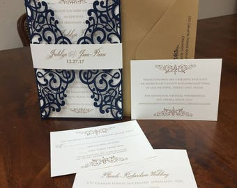 Gorgeous Shimmer Lace Laser Cut Wedding Invitations Wedding Die Cut Laser Cut Traditional Wedding Invitations Laser Cut