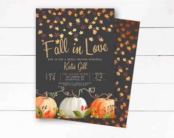 Fall in Love Bridal Shower Invitation, Rustic, Fall Invitation, Fall Bridal Shower, Autumn Invite, Falling in Love, Printable or Printed
