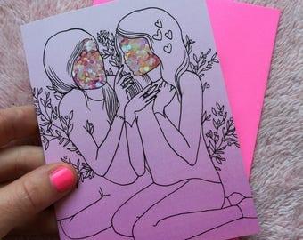 Lovers card - sequined lovers greeting card - Lovestruck print - femme 4 femme
