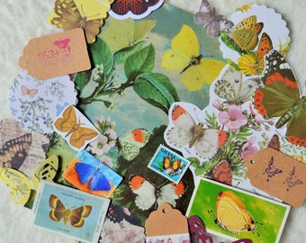 Butterflies and Moths Snail Mail Paper Ephemera Pack, Collage Pack