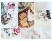 Vintage Hankies / Handkerchiefs / Assorted Hankies / Floral Hankies / Cotton handerchiefs / Squares of quilting / Hankerchief holder