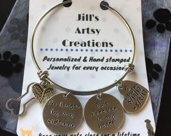 Pet Loss Bracelet, Dog Loss Bangle, Cat Loss Bangle, Pet Memorial Bracelet