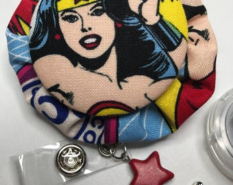 Wonder Woman badge reel  over, Wonder Woman, Wonder Woman accessories, Medical badge cover, Nurse badge, Teacher gifts, Retractable id, Clip