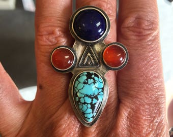 A little bit Country, a little bit R&R. Cloud Mountain Turquoise set with Lapis Lazuli and Carnelian in Sterling. Your size, free shipping!