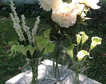 Clear Glass Vases|Wedding Centerpieces|Glass Centerpieces|Floral Vases|Set of 3 Tiered Glass Vases|Wedding Decor|Home Decor|Wedding Flowers