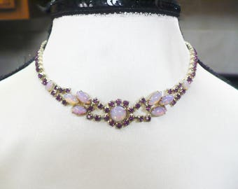 Vintage Purple Lavender RHINESTONE and Opalescent Stone Necklace - choker style - gold tone metal - bridesmaid gift- formal vintage piece