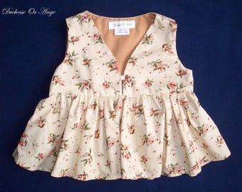 Girl in cream cotton blouse printed little red flowers - 4 years