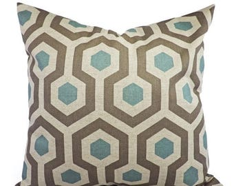 15% OFF SALE Decorative Pillow Covers - Two Blue and Taupe Throw Pillow Covers - Trellis Pillow - Blue Pillow Sham - Pillows - 12x18 14x14 1