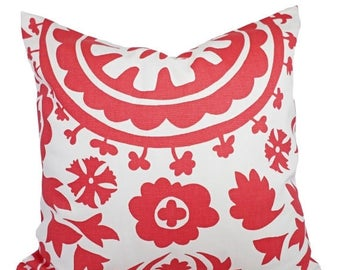 15% OFF SALE Coral Throw Pillows - Salmon Suzani Decorative Throw Pillows - Couch Pillows - Coral Pillow - Coral Pillow Cover