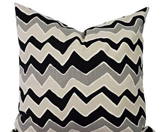 15% OFF SALE Black Pillow Covers - Two Black Chevron Decorative Pillows - Zigzag Pillow Cover - Accent Pillow - Black Grey and Cream Pillows