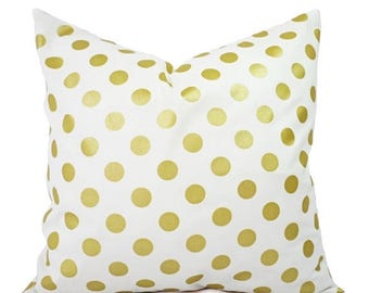 15% OFF SALE Two Metallic Gold Pillow Covers - Metallic Pillow Cover - White and Gold Pillow Cover - Decorative Pillow - Polka Dot Pillows
