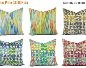 15% OFF SALE One Outdoor Pillow Cover   Orange And Blue Pillow   Patio  Pillow