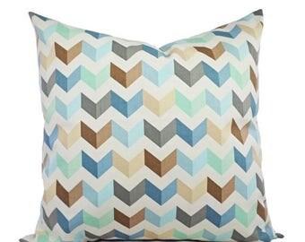 15% OFF SALE 2 Chevron Decorative Pillows in Brown Blue and Mint - Chevron Pillow Covers - Chevron Pillows - Geometric Pillow - Accent Pillo